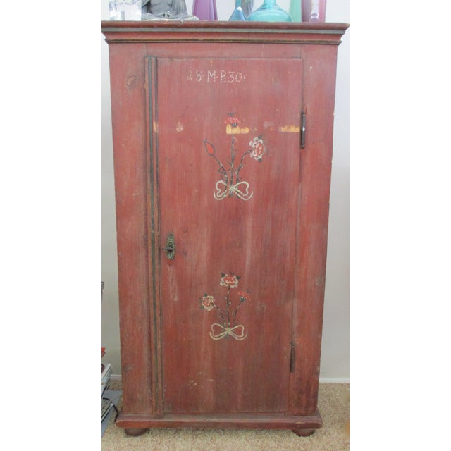 Antique Swedish Original Paint Cupboard Cabinet - Image 7 of 11