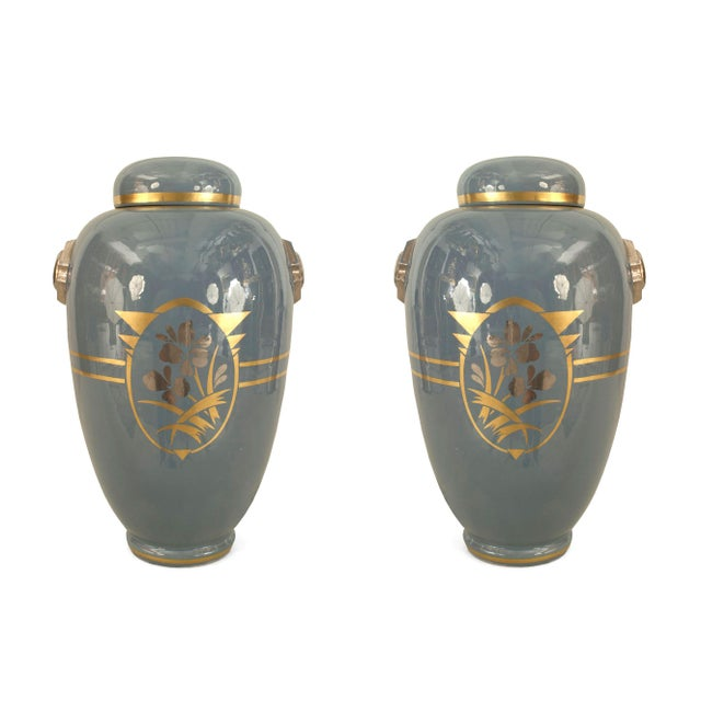 Art Deco Pair of French 1930s White Ceramic Ginger Jars For Sale - Image 3 of 3