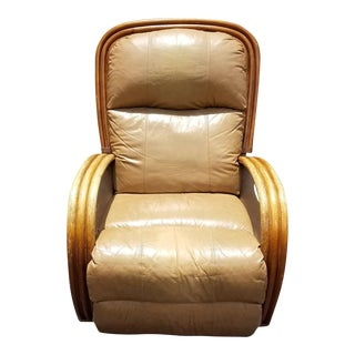 MCM Paul Frankl Style Bentwood Bamboo Genuine Leather Full Body Recliner Rocker For Sale