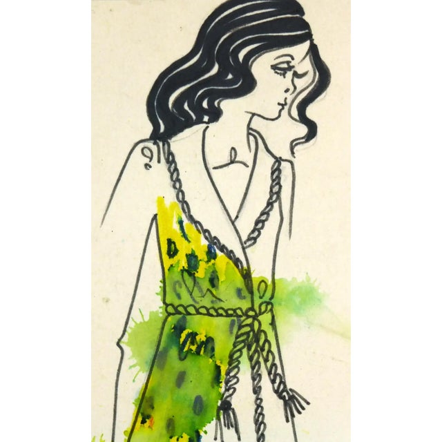 Charming ink and pencil fashion sketch of a yellow robe with rope trim by Paris fashion house Création Corine Marie, circa...