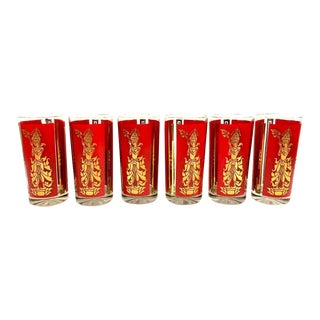 1950s Red and Gold Bali Collins Boho Chic Glassware - Set of 6 For Sale
