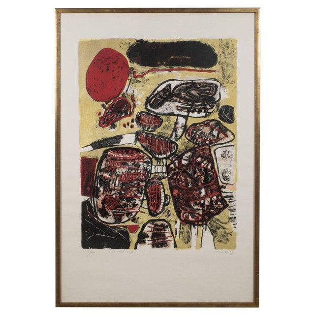 """""""Le Soleil Rouge"""" Lithograph Printed in Colors, 1963 For Sale - Image 9 of 9"""