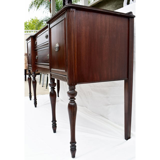 1950s Antique Sheraton Style Mahogany Console For Sale - Image 5 of 6