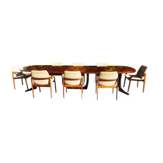 1960s Danish Modern Rosewood Kai Kristiansen Dining Set - 9 Pieces For Sale
