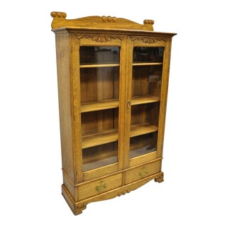 Antique Golden Oak Victorian Two Door China Cabinet For Sale