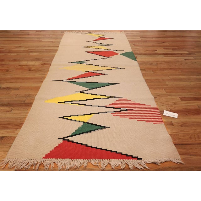 Textile Vintage French Kilim Rug by Antonin Kybal - 4′3″ × 10′10″ For Sale - Image 7 of 8