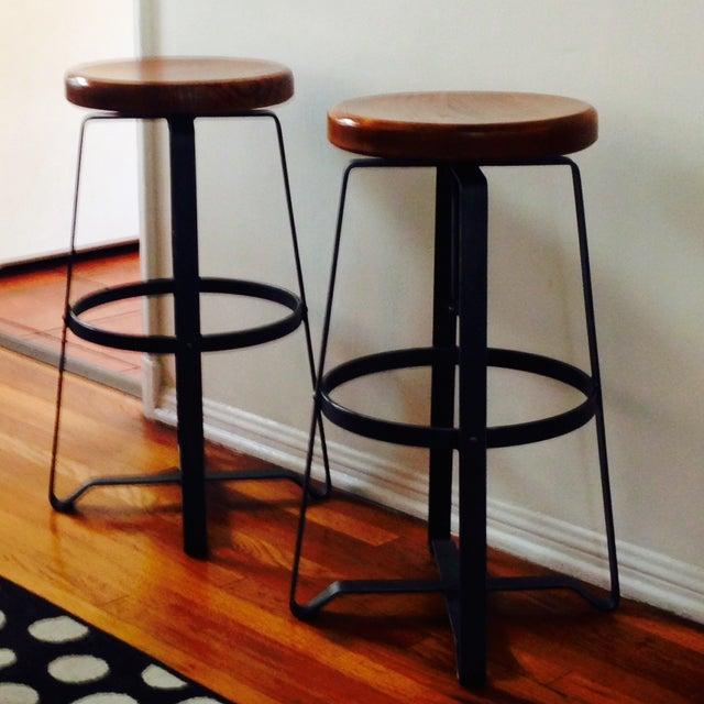 West Elm Adjustable Bar Stools - A Pair - Image 4 of 7