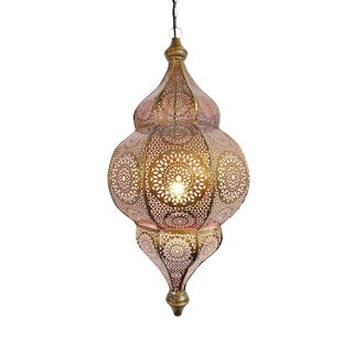 Moorish Brass Pink Lantern For Sale