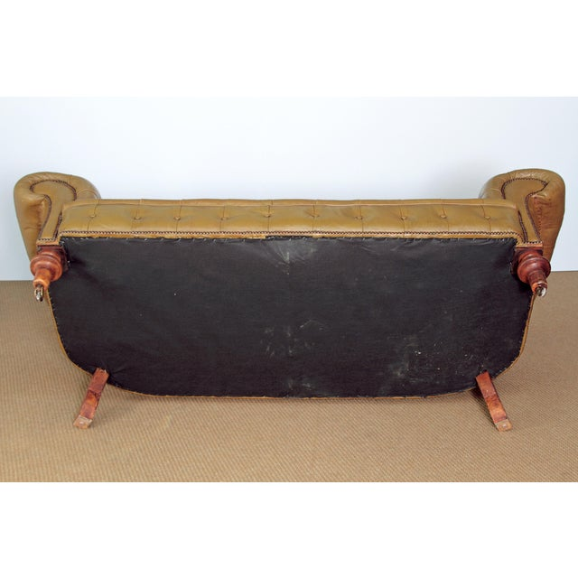 CHESTERFIELD SOFA IN OLIVE GREEN LEATHER For Sale In Dallas - Image 6 of 6