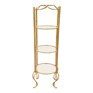 1960s Vintage Italian Gold Gilt Metal Rope Etagere For Sale