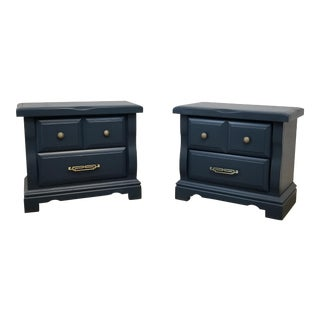 1980s Hollywood Regency Navy Blue Nightstands - a Pair For Sale