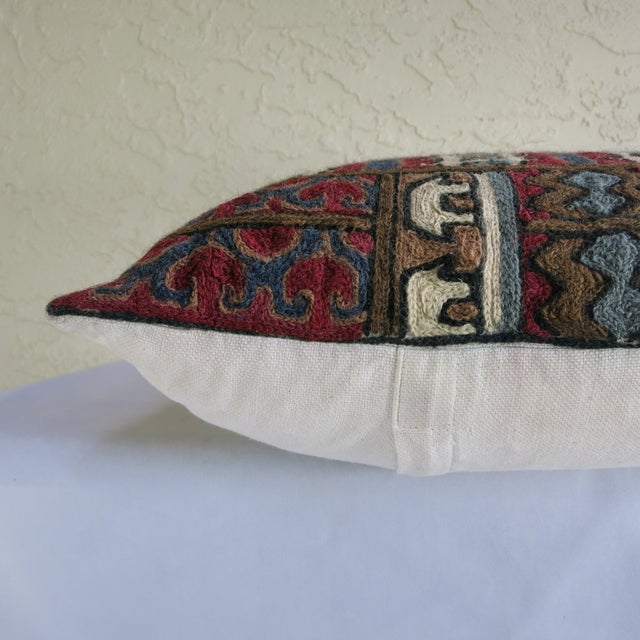 Crewel Wool Rug Fragment Pillow - Image 2 of 3