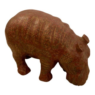 Hand Crafted Paper Mache Hippo Sculpture For Sale