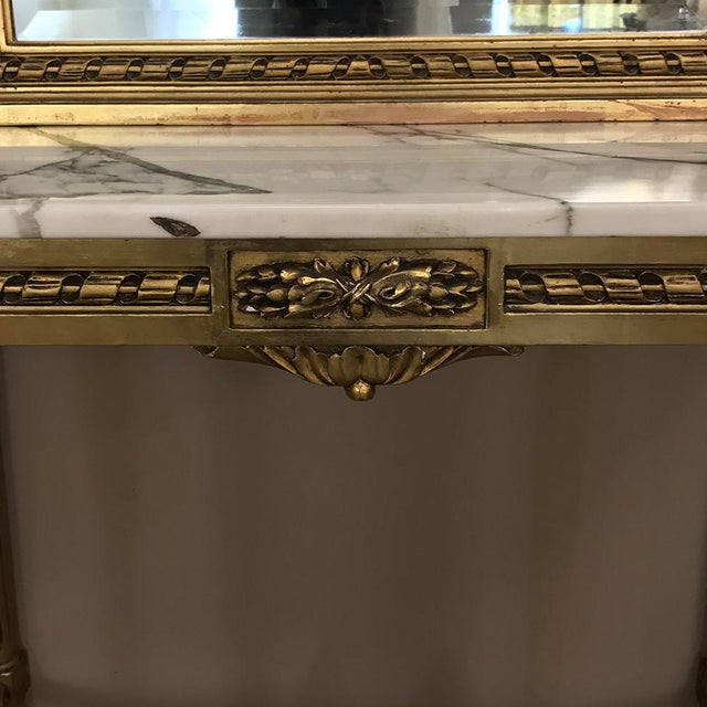 Wood 19th Century French Louis XVI Marble Top Giltwood Console With Mirror For Sale - Image 7 of 12