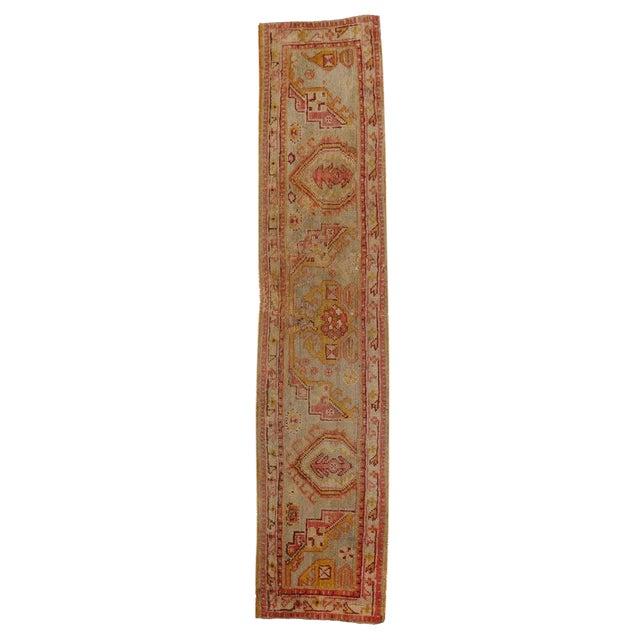 Late 19th Century Antique Wagireh Turkish Oushak Hallway Runner Rug - 2′ × 8′10″ For Sale
