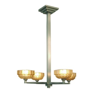 A French Four-Light Art Deco Chandelier of Spare Design, Solid Brass, Brushed Nickel Finish For Sale
