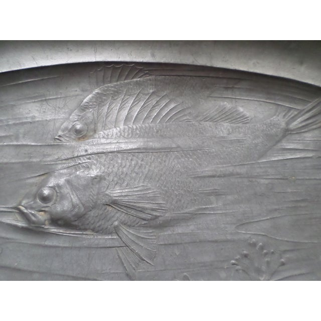 Antique Orivit Pewter Art Nouveau German Fish Platter For Sale - Image 11 of 12