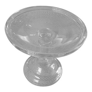 1910s Blown Mold Glass Cake Pedestal For Sale