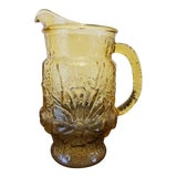 Image of Vintage Anchor Hocking Rainflower Amber Glass Pitcher For Sale