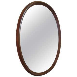 Pedersen and Hansen Oval Teak Mirror For Sale