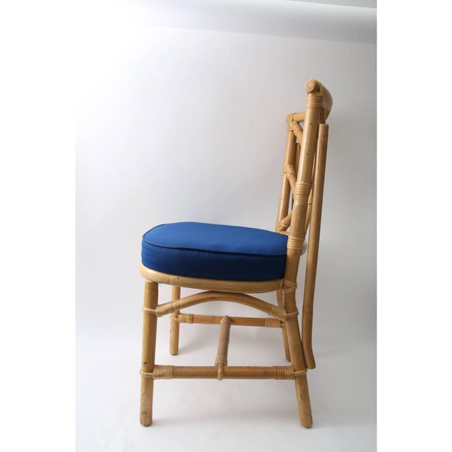Blue Vintage Chippendale Style Bamboo Side or Dining Chairs - a Set of 4 For Sale - Image 8 of 13
