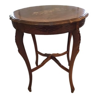 Vintage Wood Inlaid Carved Table For Sale