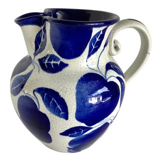 Italian Blue & White Pitcher Vase For Sale