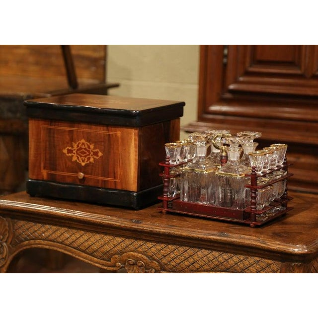 19th Century French Napoleon III Walnut Cave a Liqueur With Inlay Marquetry For Sale - Image 9 of 12