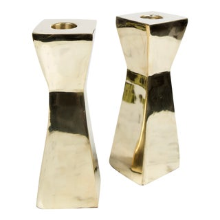 Vintage Modern Brass Candlesticks - A Pair For Sale