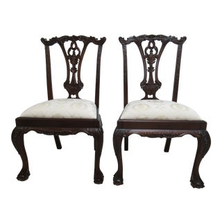 1990s Vintage Chippendale Ball Claw Dining Room Side Chairs- A Pair For Sale