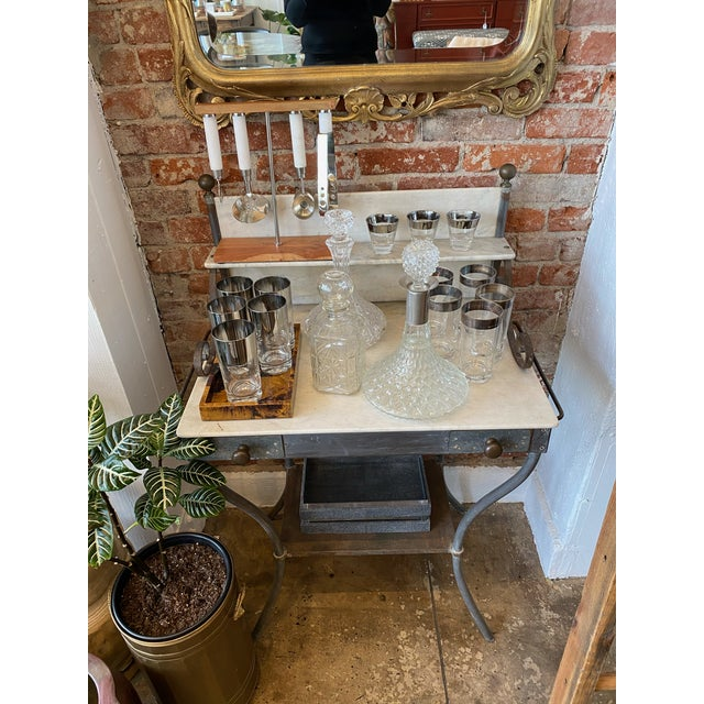 1900 - 1909 Antique Zinc and Marble Dry Sink Basin For Sale - Image 5 of 11
