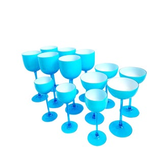 Vintage Carlo Moretti Turquoise Blue Set of 13 Glasses - Set of 13 For Sale