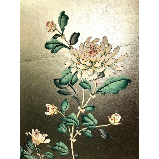 Paper Handpainted Chinoiserie Wallpaper Panel, Silver Metal Leaf With Birds For Sale - Image 7 of 8