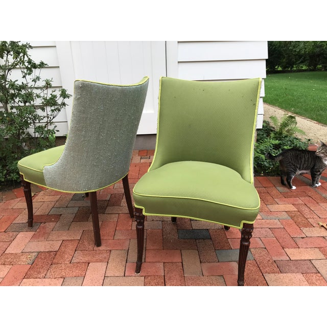 Wood Vintage Apple Green Upholstered Dining Chairs - a Pair For Sale - Image 7 of 10