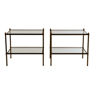 Pair of Chic Maison Baguès Style Patinated Brass and Glass Side Tables For Sale