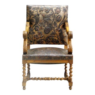 French Louis XIII Style Hand Tooled Leather Throne/ Armchair/ Lounge Chair, 1930 For Sale