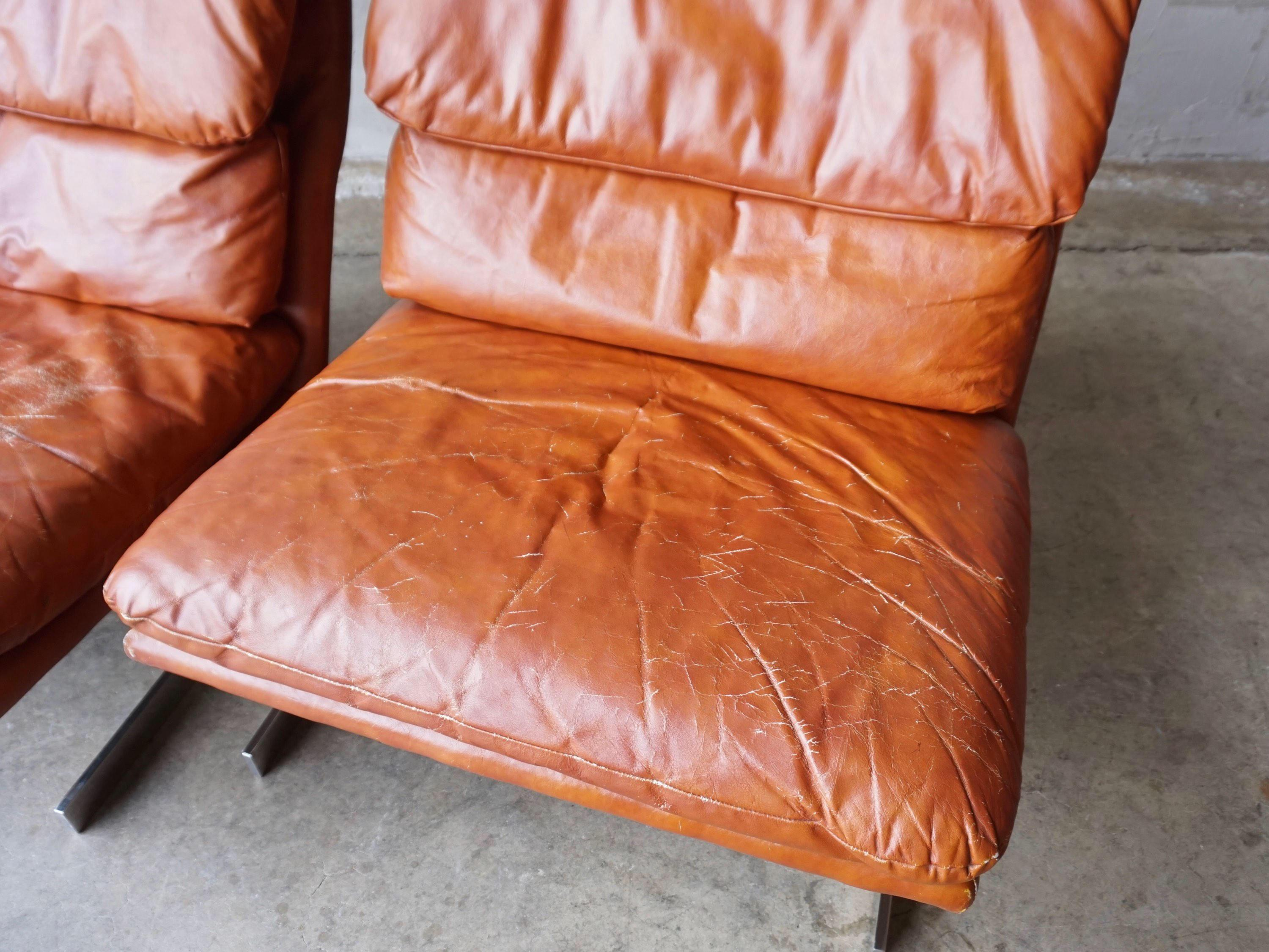 Vintage Bernhardt Leather U0026 Chrome Lounge Chairs   A Pair   Image 6 Of 10