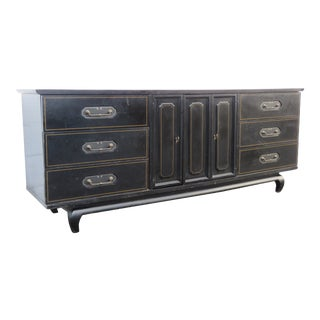 Hollywood Regency Black Dresser Bathroom Vanity by American of Martinsville 3435 For Sale
