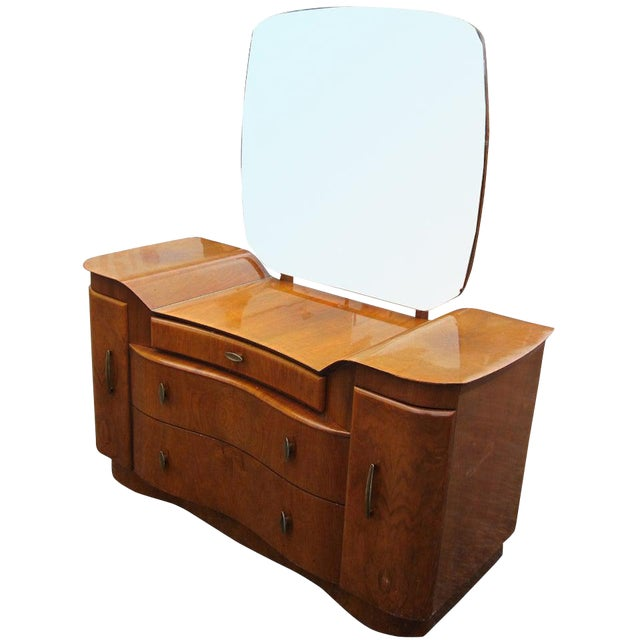 Art Deco Mahogany Vanity Dresser With Mirror For Sale
