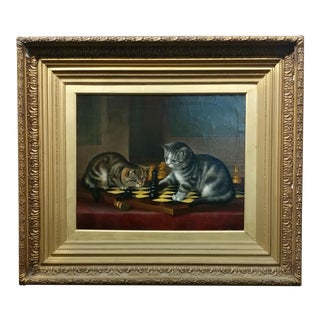 19th C. Tabby Cats Playing Chess Oil Panting For Sale
