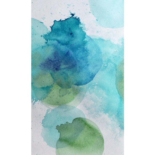 Abstract Abstract Watercolor Print Poster of Blues and Greens For Sale - Image 3 of 3