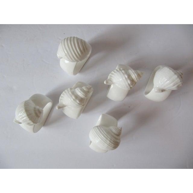 White Porcelain Shell Napkin Rings - Set of 6 For Sale - Image 4 of 5