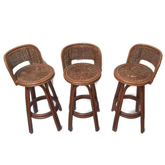Vintage Rattan & Bamboo Swivel Bar Stools - Set of 3 For Sale In Richmond - Image 6 of 11