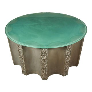 Modern Drum-Shaped Fluted Coffee Table by Steve Chase For Sale