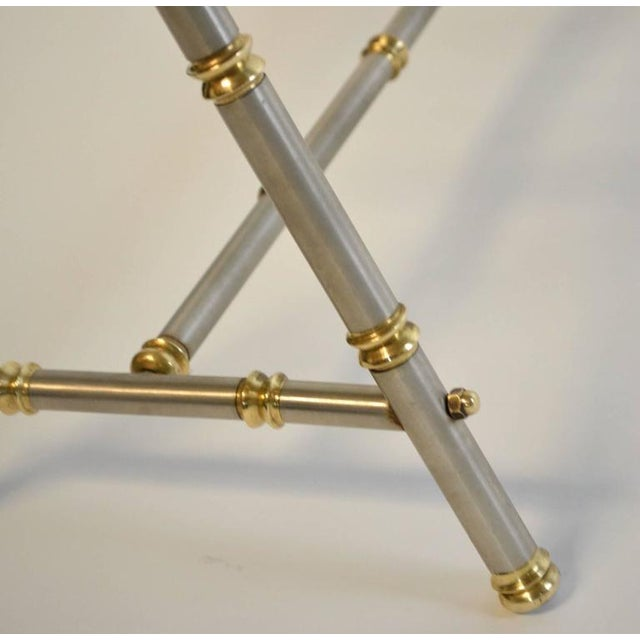 Early 20th Century Maison Jansen Style Steel and Brass Coffee Table For Sale - Image 5 of 6
