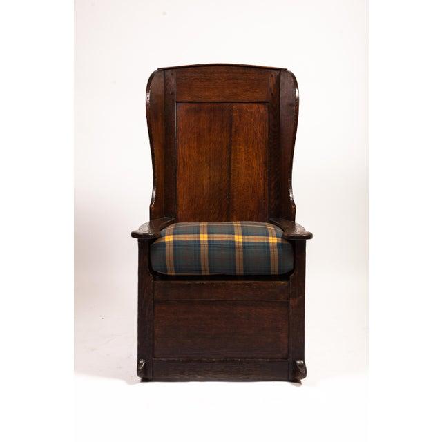 18th-century English planked rocker. Newly upholstered. Estate of William Diamond.