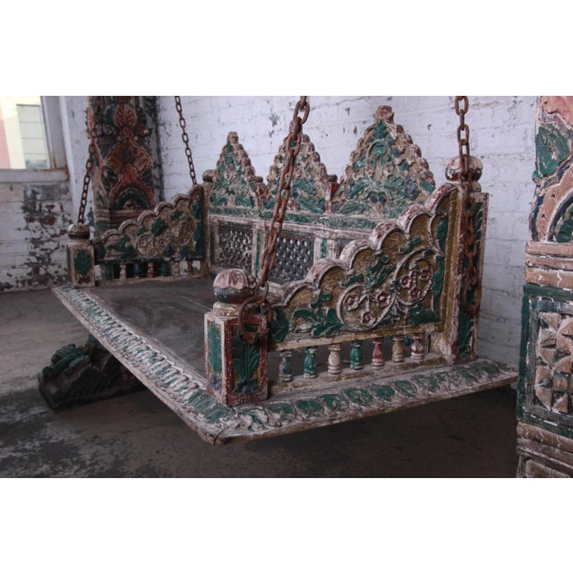18th Century Ornate Carved Indian Jhula Bench Swing For Sale In South Bend - Image 6 of 13