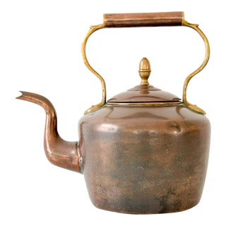 Large Antique English Copper & Brass Teapot Kettle