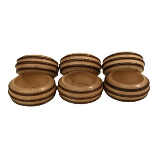 Vintage Wooden Napkin Rings - Set of 6