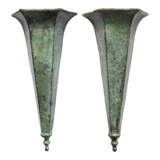 Verdigris Metal Wall Vases - a Pair For Sale